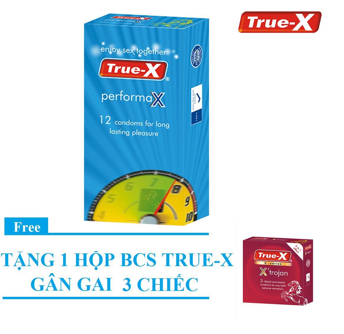 Bộ 1 hộp Bao cao su kéo dài thời gian True-X PerformaX Extra time tặng 1 hộp gân gai XTrojan (15 chiếc)