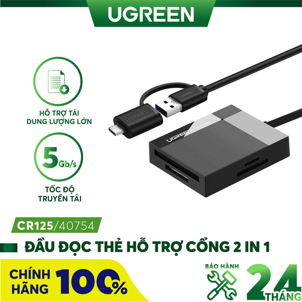 Bảng giá Đầu đọc thẻ hỗ trợ cổng 2 in 1 USB 3.0 / USB type C cho thẻ CF / SD / MS / TF chức năng OTG dài 50cm UGREEN CR125 Phong Vũ