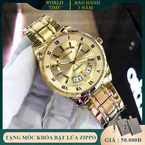 Đồng hồ nam Sunrise DM771SWA Full Box, Kính Sapphire Chống xước, Chống nước, Dây kim loại không gỉ 316L, Bảo hành toàn quốc 3 năm