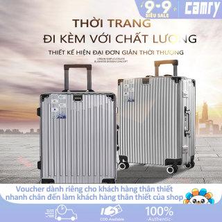 Vali du lịch vali xách tay kim loại 20inch 24inch hợp kim nhôm có mã số 4 bánh xe tay kéo dày hơn vali màu bạc hot trên mạng vali phong cách retro màu trơn camry thumbnail