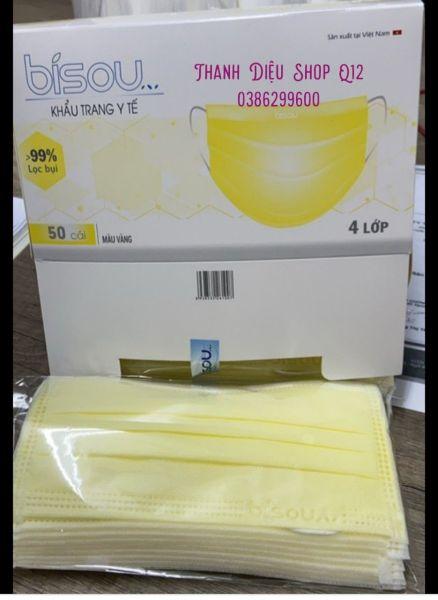 Giá bán Hộp 50c Mask 4 lớp kháng khuẩn Bisou, màu xanh, hồng, vàng, xám, đen