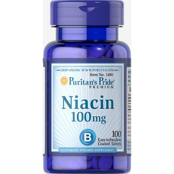 viên uống giảm mụn, viêm da mụn niacin puritans pride - lọ 100 viên