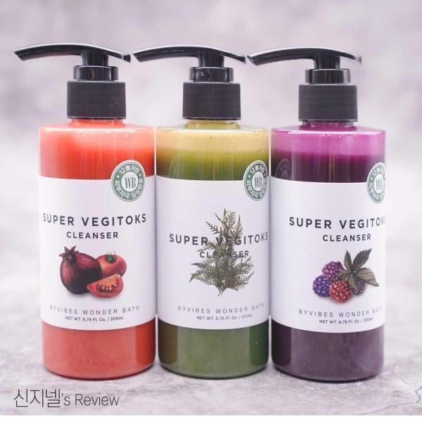 300 ml - Sữa rửa mặt rau củ thải độc Super vegitoks cleanser Wonder bath nhập khẩu
