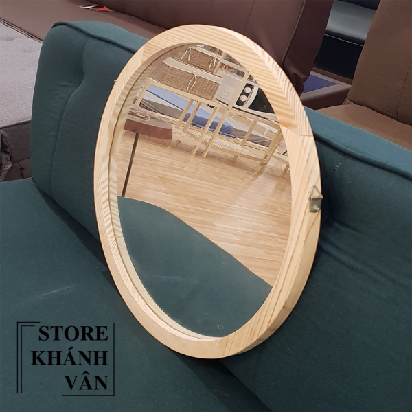 Gương Tròn Treo Tường Khung Gỗ Tự Nhiên Cao Cấp D60 - Gương tròn cao cấp D60 - Gương tròn khung gỗ tự nhiên D60 - Gương tròn trang trí treo tường D60 - sản phẩm có kèm vít treo tường - Gương tròn D60 - Khánh Vân Store giá rẻ