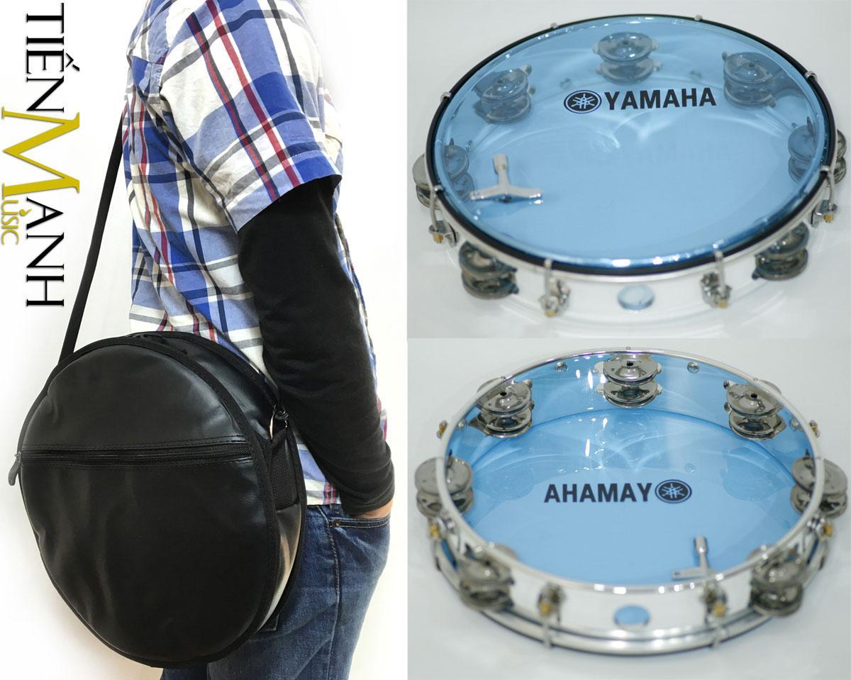 Hot Deal Khi Mua Combo Trống Lắc Tay Và Bao đựng Lục Lạc Gõ Bo Tambourine Yamaha MT6-102B (Xanh Trong Suốt - Trống Chơi Nhạc Chế Gõ Po - Xipo)