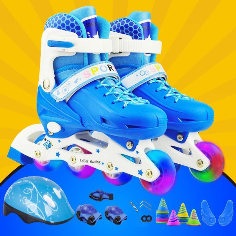 Phân phối Giày trượt patin trẻ em phát sáng kèm mũ bảo hiểm, đồ bảo hộ (6 món) và bộ dụng cụ xiết ốc
