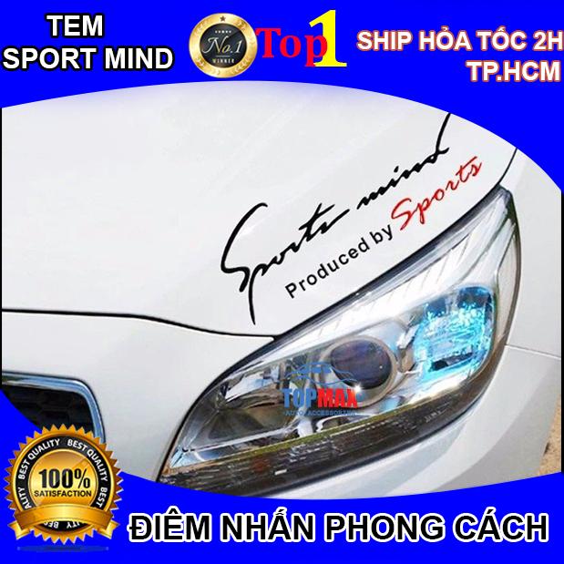 Tem dán Sport mind lên nắp capo ô tô (màu đen - đỏ)