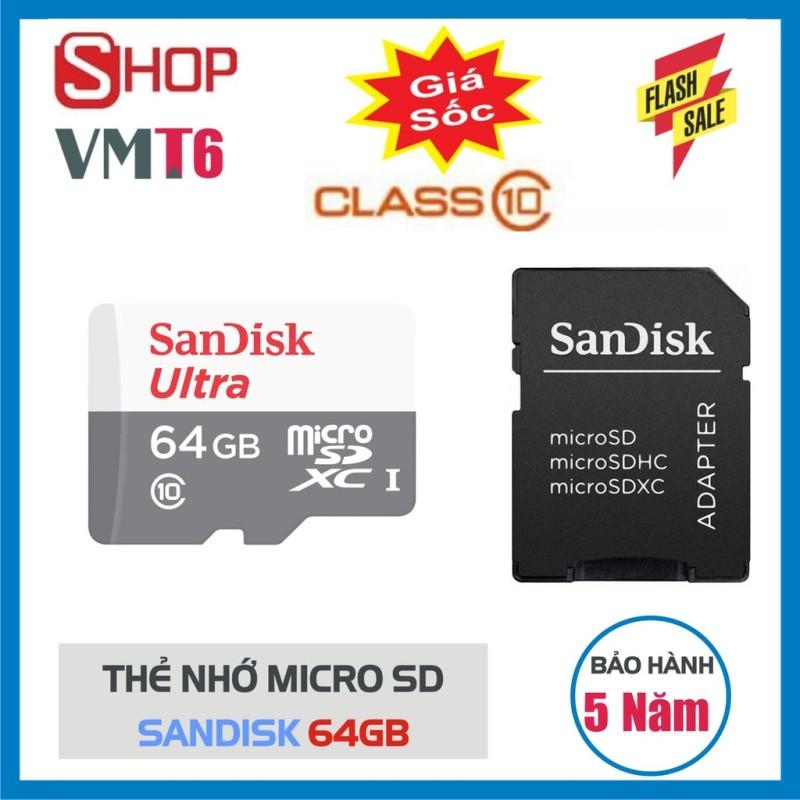 Thẻ Nhớ 64GB MicroSDHC SanDisk Ultra - Dung lượng lớn - bảo hành 5 năm!