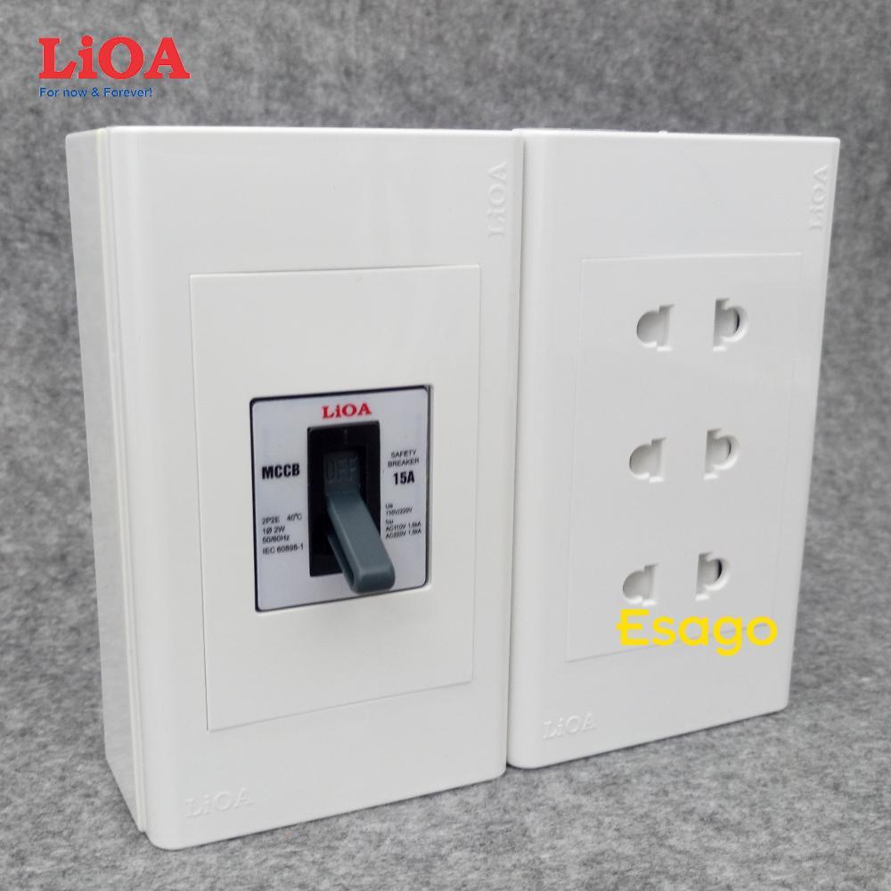 Combo ổ cắm điện ba 2 chấu 16A LiOA (3520W) có cầu dao chống quá tải 15A - Lắp nổi