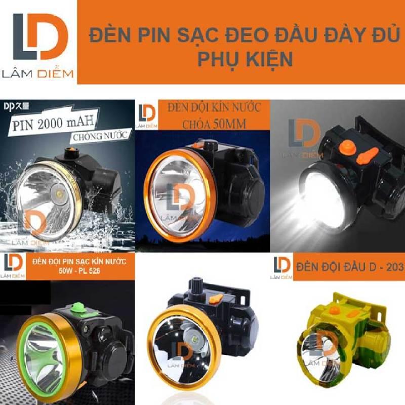 Đèn pin sạc đội đầu siêu sáng đầy đủ phụ kiện có nhiều mẫu lựa chọn