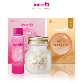 Combo hộp nước uống Collagen InnerB Glowshot (50mlx6) & INNERB AQUA RICH DOUBLEUP (giúp giữ ẩm da sáng mịn từ Axit Hyaluronic) lọ 56 viên thumbnail