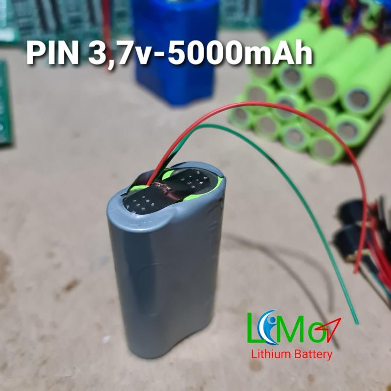 Khối pin Lithium 3,7v 5000mAH. Gồm 2 Cell pin mới dòng xả cao. LiMo - Lithium Batery
