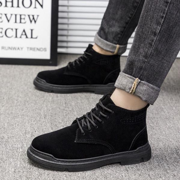 Giày cổ cao nam da lộn đen trơn Basicc phong cách - B end T Shop giá rẻ