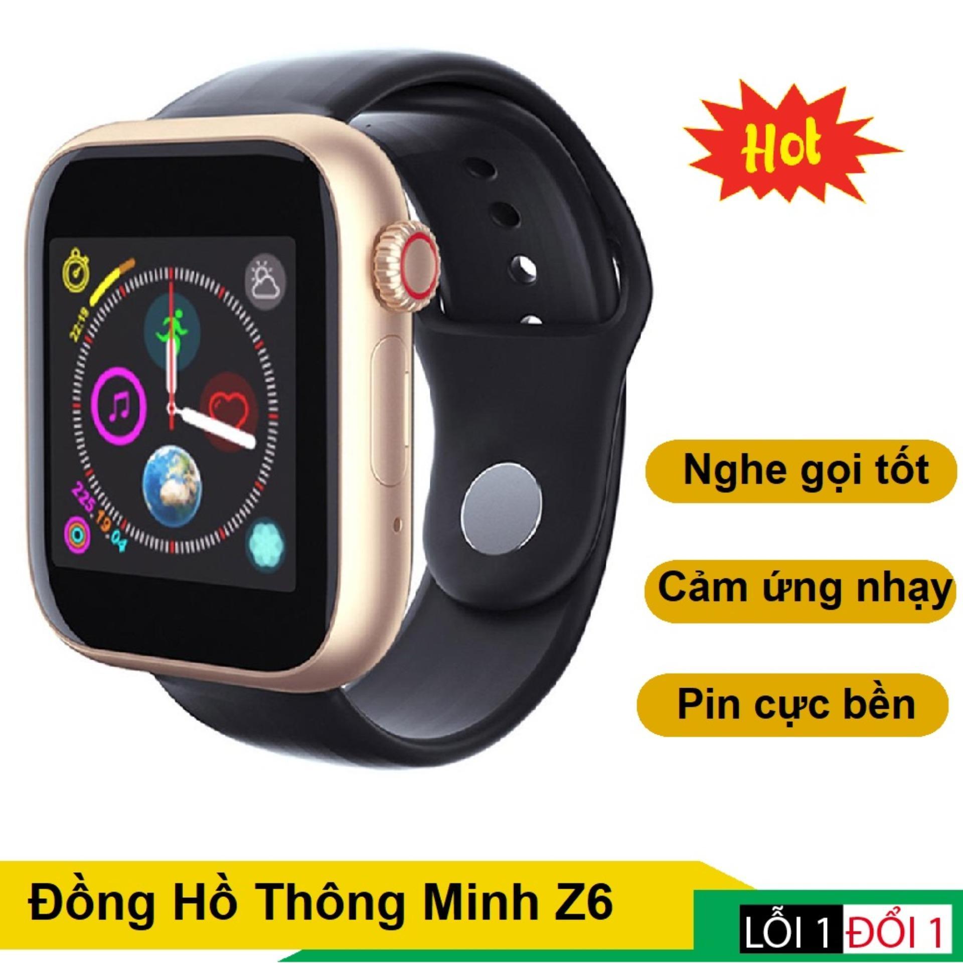 Đồng hồ thông minh trẻ em, Đồng hồ theo dõi sức khỏe, Đồng Hồ Thông Minh Smartwatch Z6 Kiểu Dáng Đẹp, Hỗ Trợ Sim Và Thẻ Nhớ, Nghe Gọi, Vào Mạng, Kết Nối Bluetooth 3.0 Với Smartphone, Pin Bền Sử Dụng Lâu.