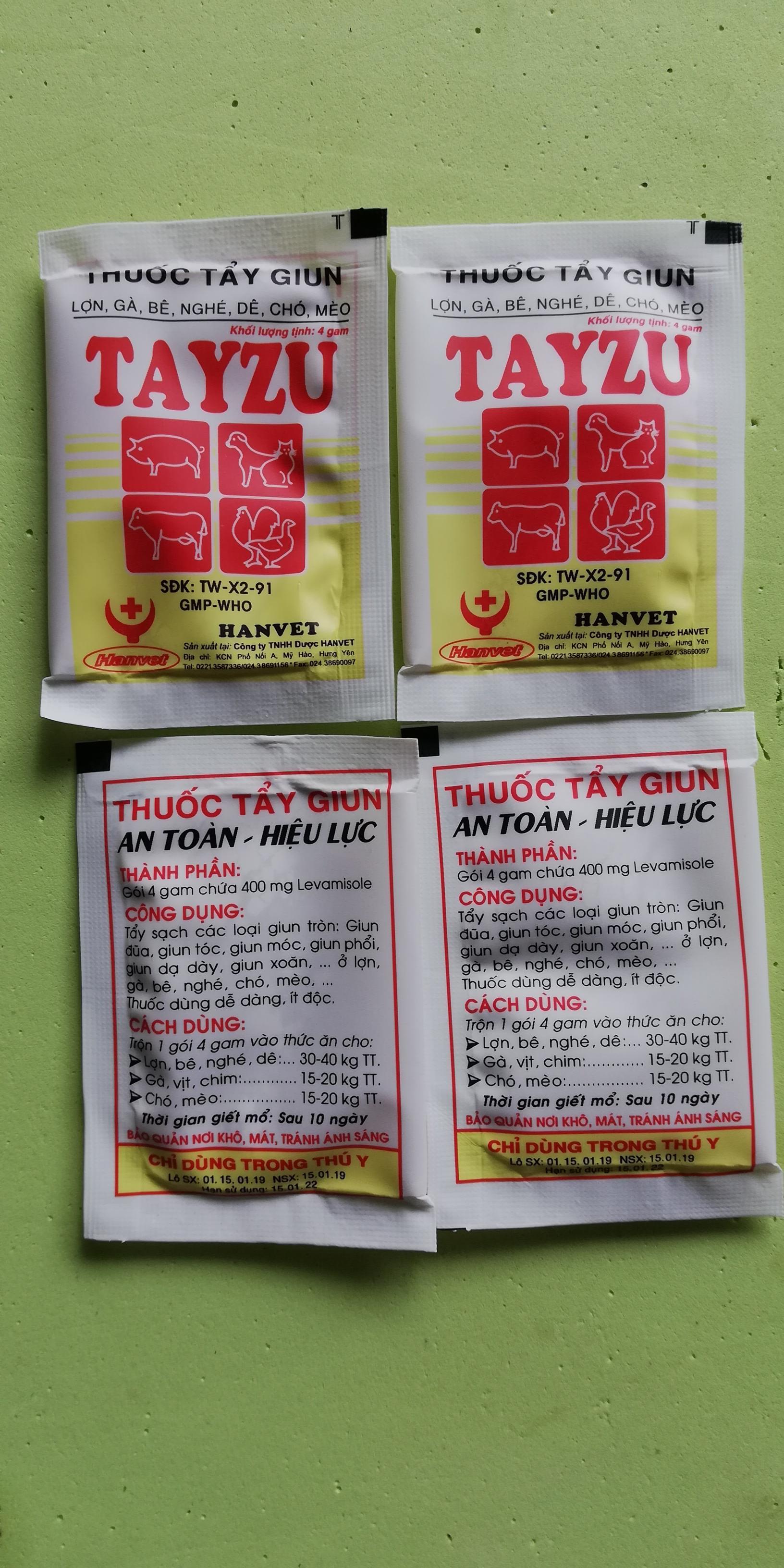 Đặc trị  giun, sán cho chó mèo dạng bột 5 gói Hanvet Tayzu 4g Nhật Bản