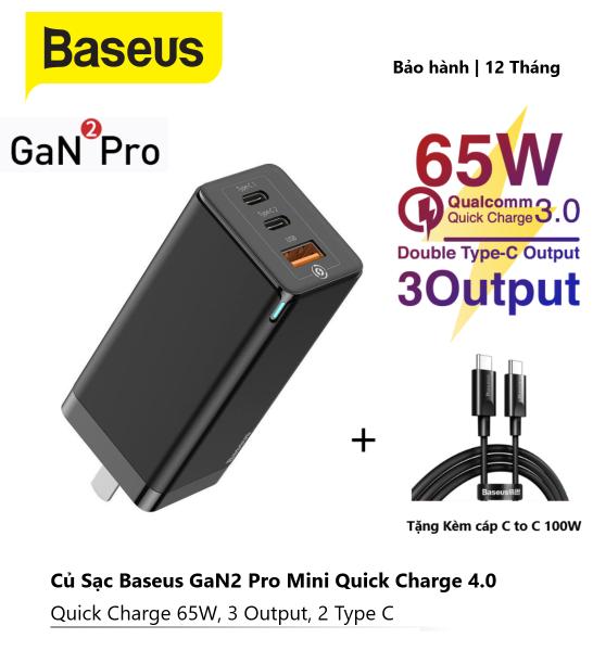 Củ sạc Nhanh BASEUS GaN2 Pro 65W USB C PD 3.0 Sạc nhanh QC 4.0 Type C Bộ sạc nhanh đa năng cho iPhone 12 Samsung Macbook Pro, Laptop,.. 3 cổng [ Free dây C to C 100W ]