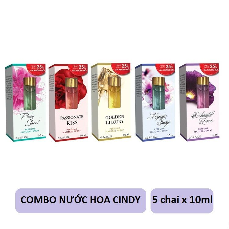 Bộ 5 chai nước hoa Cindy 10ml (Mystic Fairy + Pinky Sweet + Enchanted Love + Passionate Kiss + Golden Luxury)