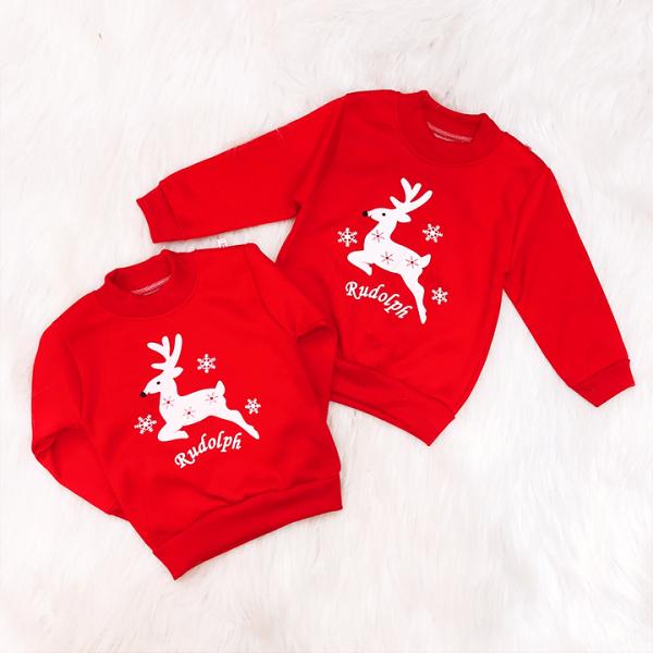 Giá bán Áo Noel nỉ bông dày dặn màu đỏ cho bé 7-21kg họa tiết tuần lộc xinh xắn nổi bật BBShine - A017