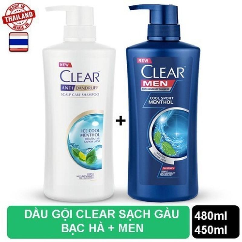 Bộ 2 Chai dầu gội Clear Bạc Hà 480ml và Clear Men 450ml nhập khẩu Thái Lan giá rẻ