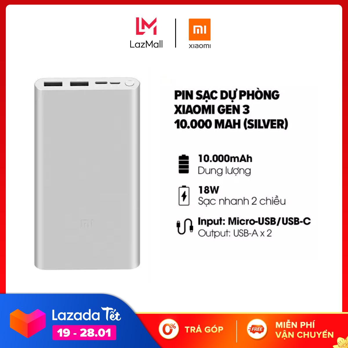 Sạc dự phòng Xiaomi Gen 3 10.000mAh l Sạc nhanh 2 chiều cổng Type-C 18W l Input: Micro-USB / USB-C. Output: USB-A x 2 l HÀNG CHÍNH HÃNG