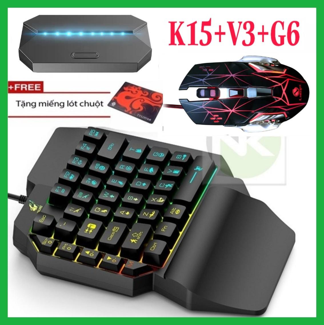 Combo Trọn Bộ Bàn Phím K15 + Chuột V3 + Hộp Chuyển Đổi G6 chơi game PUBG Mobile cho Android, IOS, iPad như PC - NK