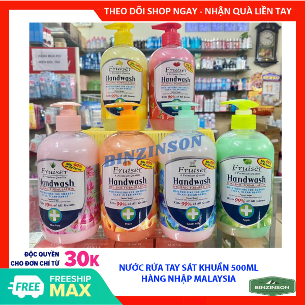Nước rửa tay FRUISER bảo vệ da tay và diệt khuẩn 500ml hàng nhập Malaysia [ GIAO MẪU NGẪU NHIÊN ] - BINZINSON cao cấp