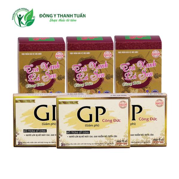 Combo 3 hộp trà xanh lá sen & 3 hộp giảm phì - Giúp tăng cường sức khỏe, kiểm soát cân nặng, giảm mỡ