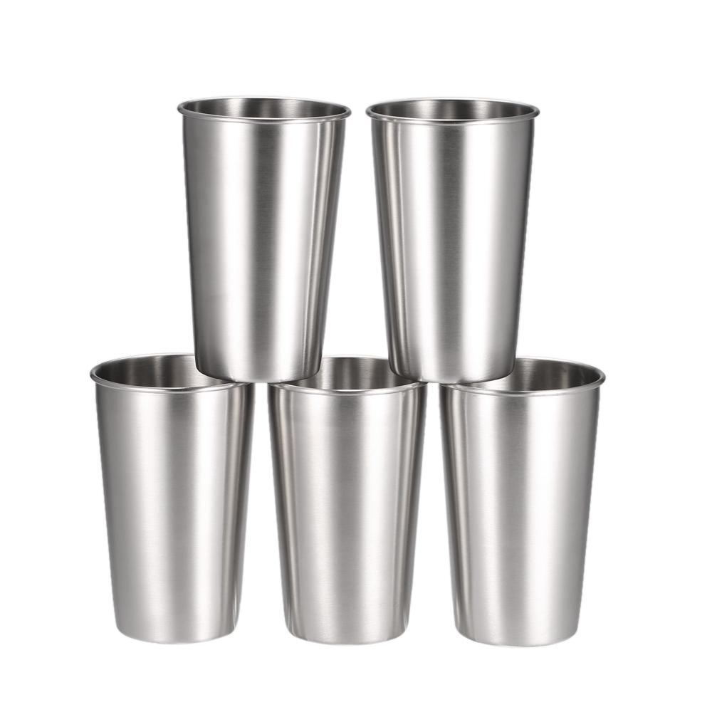 5 PCS Stainless Steel Pint Cups Tumbler Beer Mug Travel & Cooler Mugs Party Camping Picnic Juice Cup Drop Resistance
