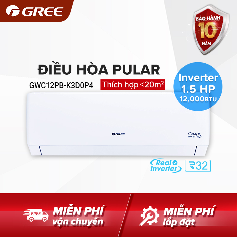 Điều hòa GREE- công nghệ Real Inverter- 1.5HP (12,000 BTU) - PULAR GWC12PB-K3D0P4 (Trắng) - Hàng phân phối chính hãng