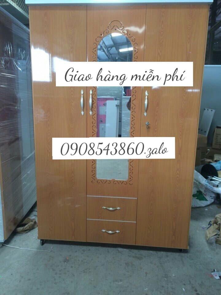 Tủ nhựa quần áo 3 cánh 1m8 x1m2 màu giả gỗ