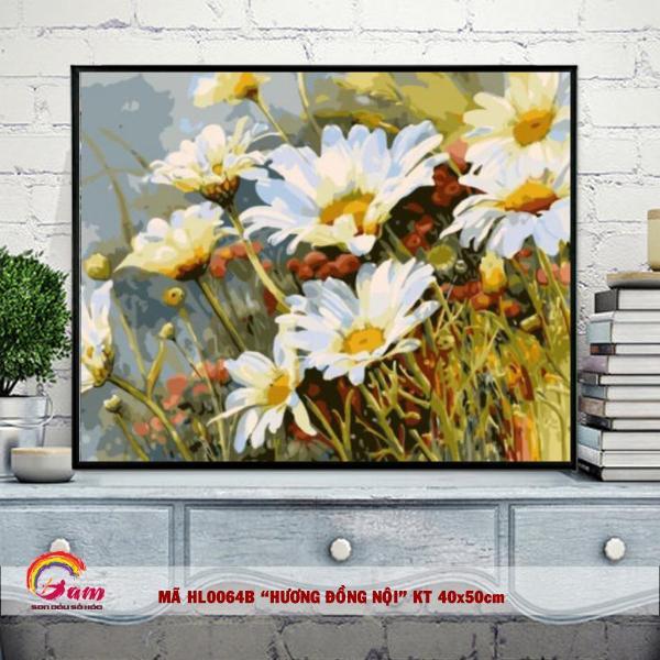 Tranh sơn dầu số hóa DIY tự tô màu Có khung các loại hoa - Mã HL0064B Hoa cúc dại Tranh Trang trí Phòng khách Làm quà tặng Giảm Stress