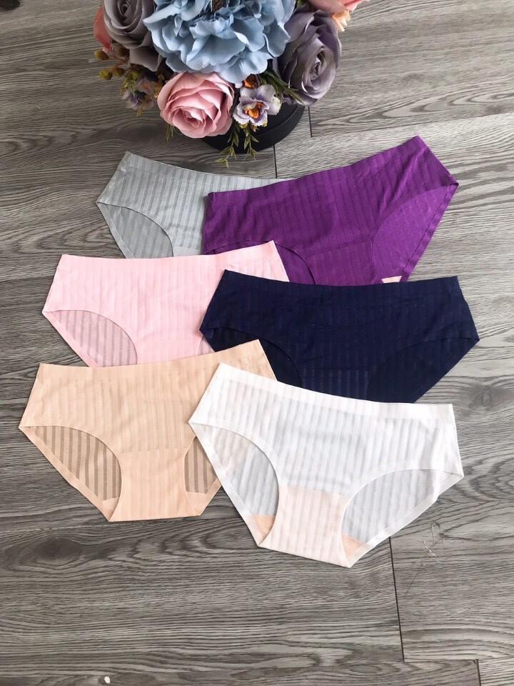 Combo 5 quần lót nữ su kẻ sọc, quần chíp nữ sọc lưới, quần lót su cao cấp
