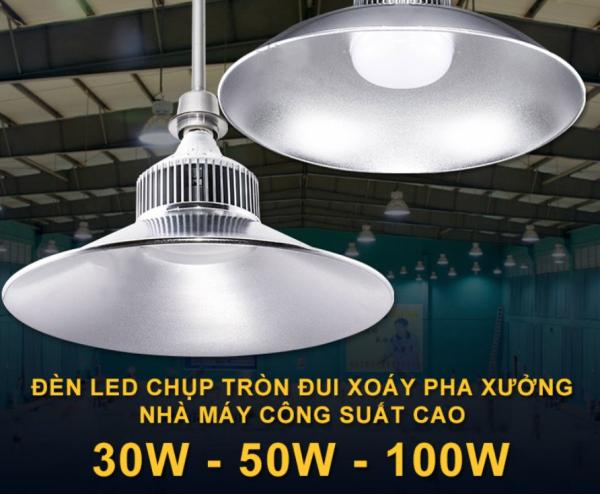 Bảng giá Đèn LED pha xưởng công nghiệp ánh sáng nhà máy đèn chùm chiếu sáng kho trần công suất 30W 50W 100Wsiêu sáng ( sáng trắng )