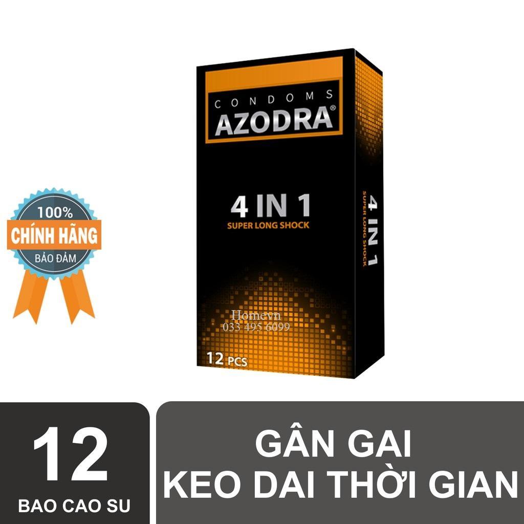 (Chính hãng) Bao cao su gân gai kéo dài thời gian AZODRA hộp 12 chiếc nhập khẩu