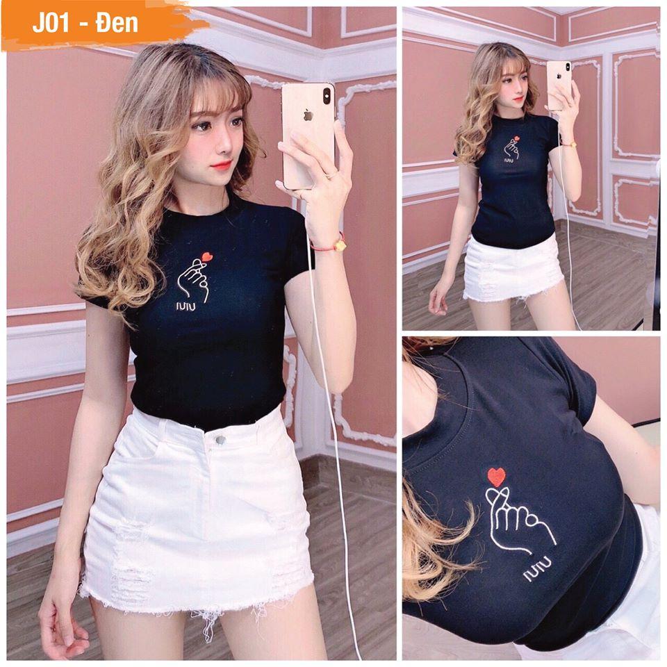 Áo thun Nữ thời trang XBeauty J01 áo phông nữ vải Cotton 100% cao cấp. Có 4 màu (Đen/Hồng/Trắng/Vàng). Áo thun thời trang Nữ cá tính sang trọng