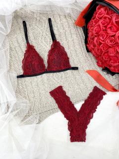 Bộ đồ lót bralette đỏ hoa có mút mỏng [đồ lót - áo lót - quần lót - bikini - đồ lót đẹp - bra - đồ ngủ - đồ lót giá rẻ - áo ngực - quần lọt khe - đồ lót ren - quần lót ren - đồ lót sexy] thumbnail