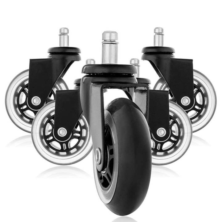 Replacement Wheels Office Chair Caster Wheels For Your Desk Chair Quiet Rolling Casters Perfect For Hardwood Floors Carpet Laminate And Tile Set Of 5 Lazada