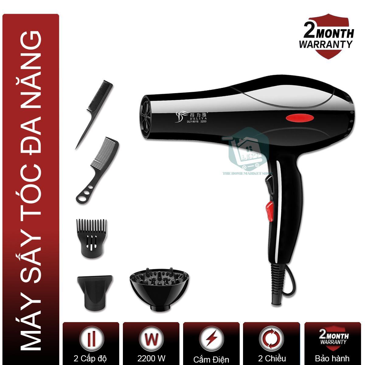 Máy sấy tóc chuyên nghiệp công suất lớn DELIYA 2200W DLY-8018 (Mẫu mới 2019), Tặng bộ dụng cụ 5 món chính hãng