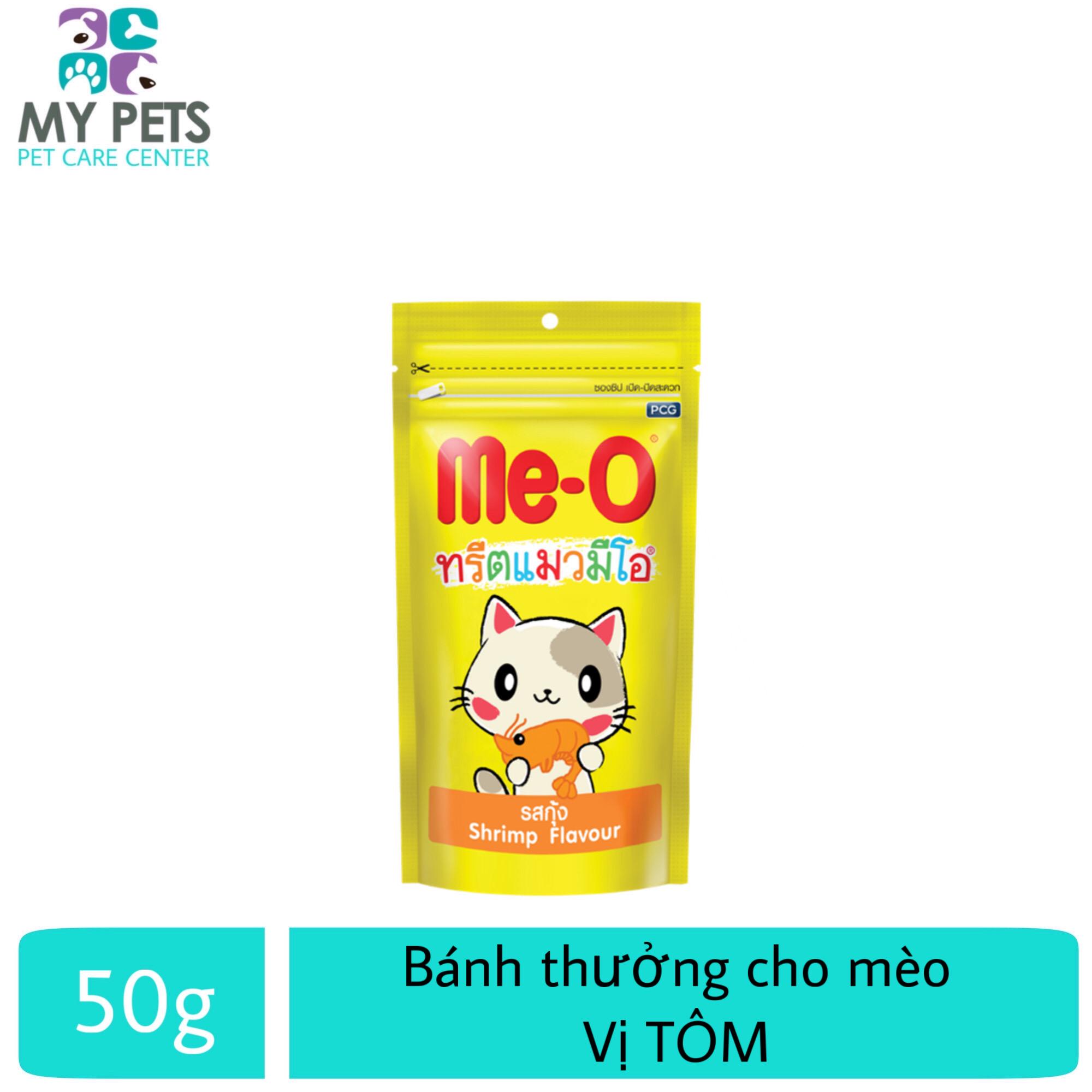 Giá Cực Tốt Để Sắm Bánh Thưởng Cho Mèo Me-o Hương Vị  Tôm- Gói 50g