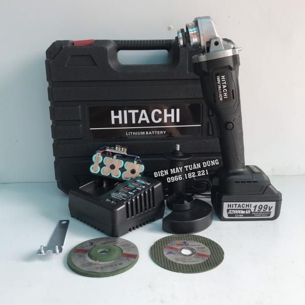 Máy mài pin Hitachi 199V không chổi than - 2 PIN - TẶNG LƯỠI CƯA XÍCH, ĐÁ MÀI, ĐÁ CẮT