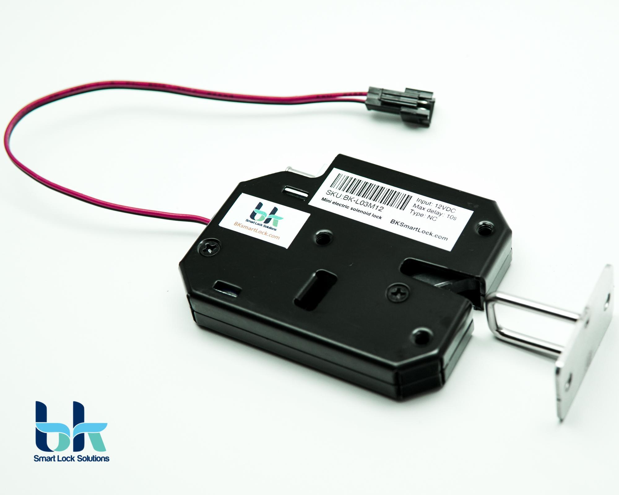 Chốt khóa cửa điện từ BK Smart Lock BK-L03M12 thường đóng 12V, dành cho cửa mở ra ngoài hoặc cửa lùa