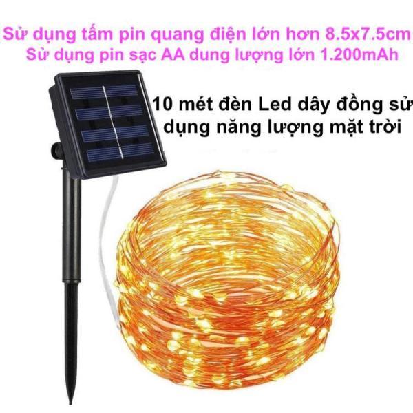 10M Dây Đèn Led Trang Trí sử dụng năng lượng mặt trời, đèn led dây đồng chớp nháy dùng ngoài trời chống thấm nước mưa sử dụng trang trí sân vườn, ban công, nhà hàng, khách sạn, khu nghỉ dưỡng, giáng sinh, năm mới