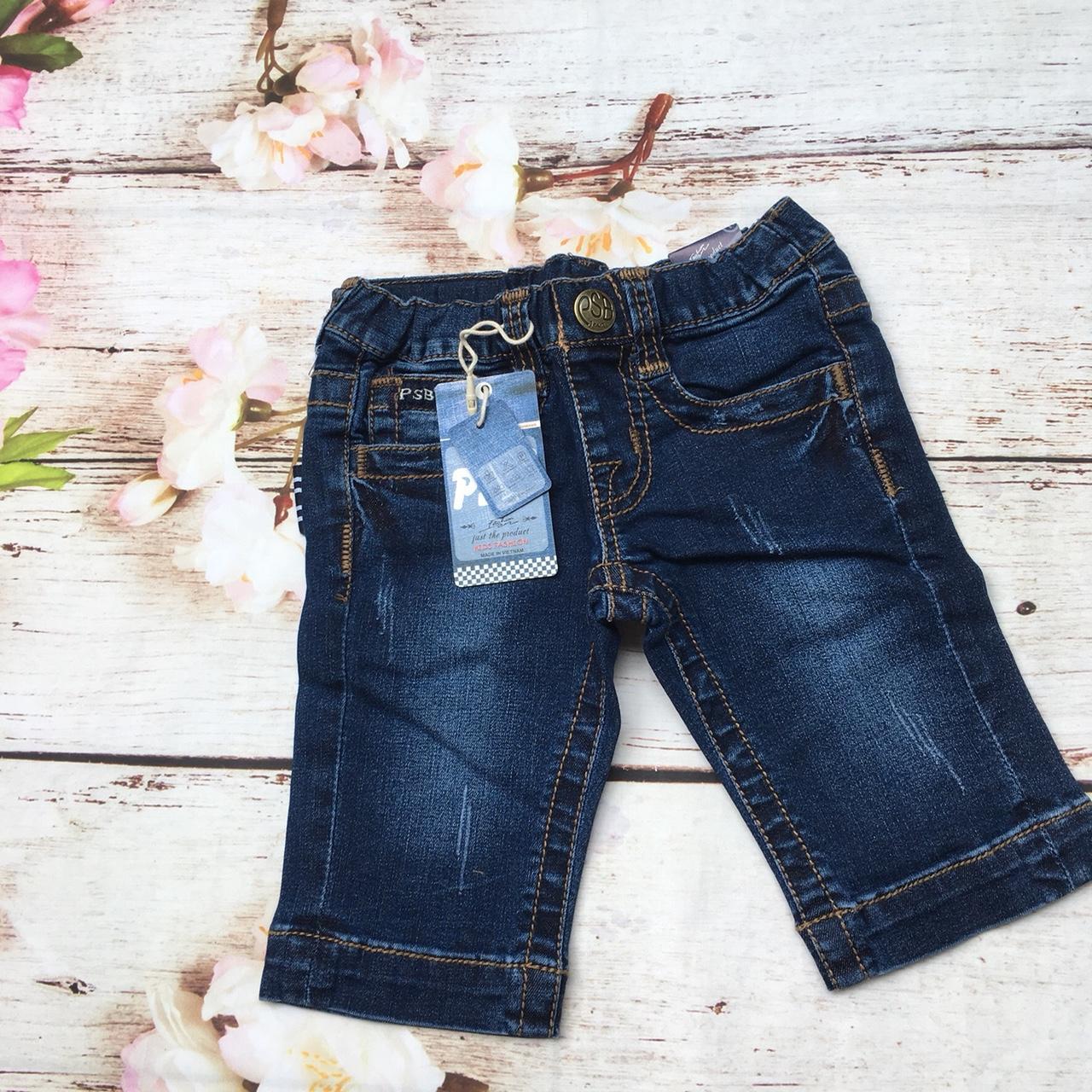 Quần bé gái lửng jean cao cấp lưng thun chỉ to - QG120