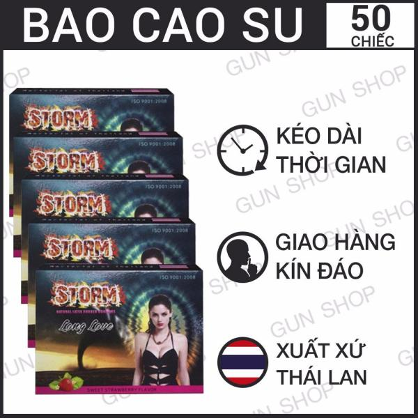 Bộ 5 (50 chiếc) Bao Cao Su Thái Lan Storm hương dâu - GUNSHOP cao cấp