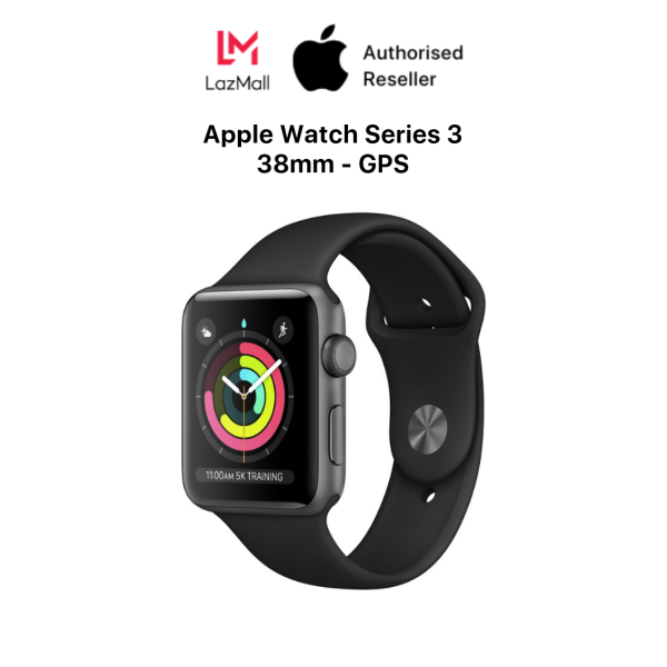 Apple Watch Series 3 GPS 38mm Space Grey Aluminium Case with Black Sport Band Genuine VN/A - 100% New (Not Activated, Not Used) - 12 Months Warranty At Apple Service - 0% Installment Payment via Credit card - MTF02VN/A