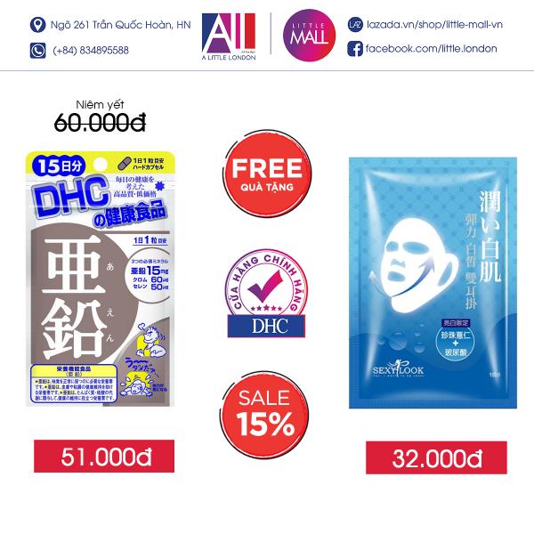 Viên uống giảm mụn bổ sung kẽm DHC zinc gói 15 ngày TẶNG mặt nạ Sexylook (Nhập khẩu) giá rẻ