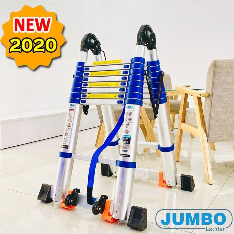 Thang Nhôm Rút Đôi Chữ A 2m5 : 2m5 duỗi thẳng 5 mét ( JUMBO A250B ) - Tiêu Chuẩn Châu Âu Chính Hãng Nhật Bản mới nhất ( mới nhất 2020 )