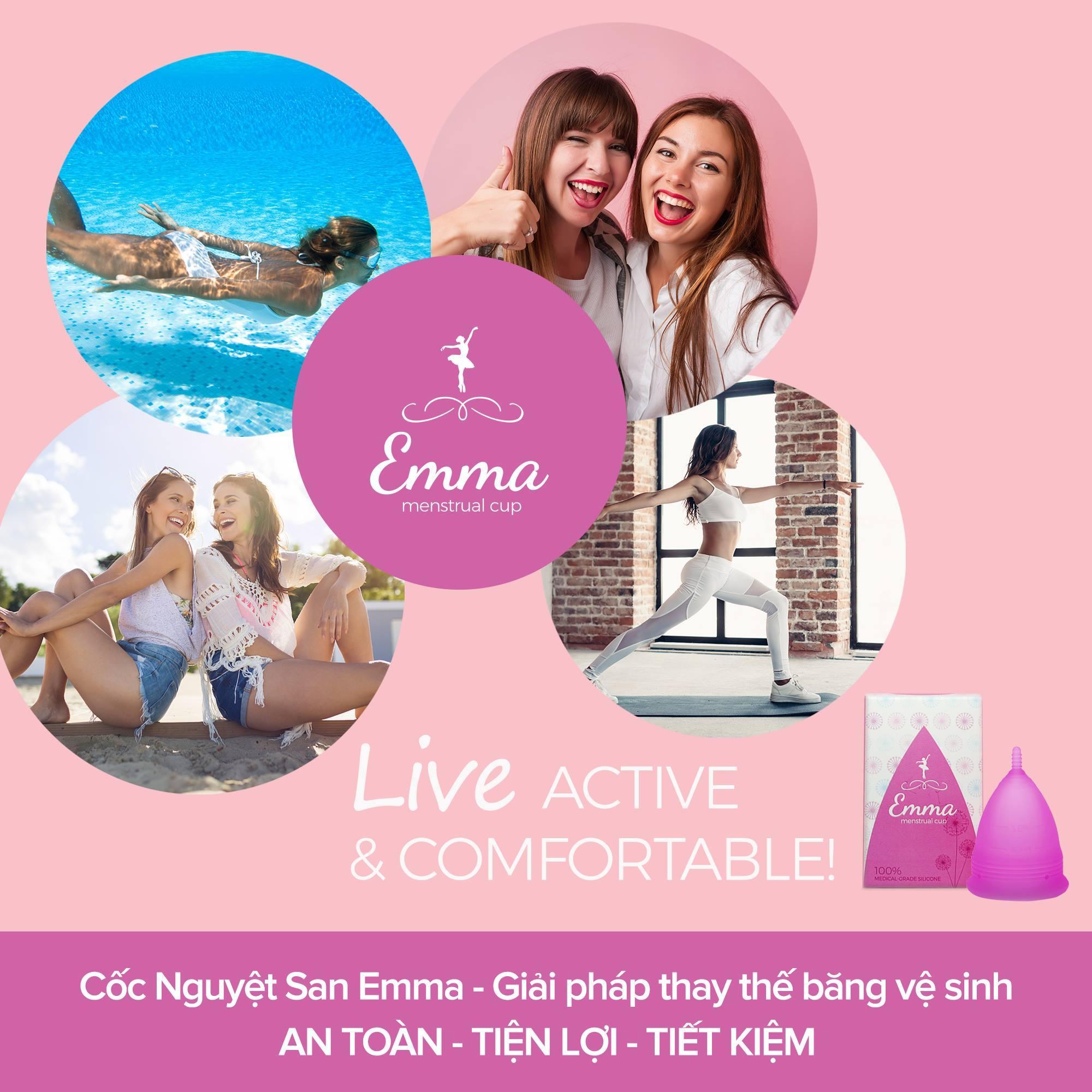 Combo 2 Cốc nguyệt san Emma Cup - Màu Hồng + Màu xanh + Quà tặng