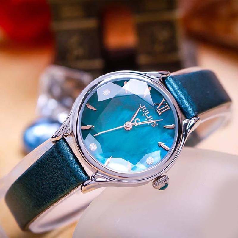 Đồng hồ nữ Julius Hàn Quốc JA-1154A dây da (Xanh)