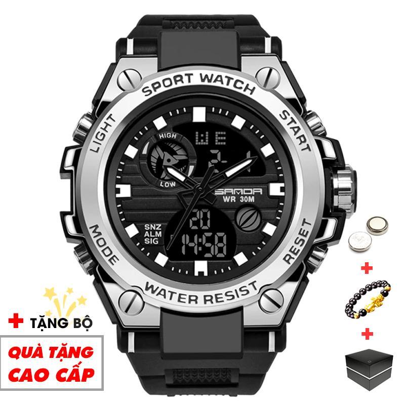 Đồng hồ nam điện tử SANDA thể thao SA01 chống nước chống va đập bền bỉ (Đen Viền Trắng) - Arman Store bán chạy